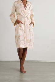 Morgan Lane Ophelia belted floral-print satin-jacquard robe