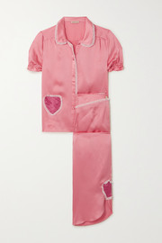 Morgan Lane Lovie and Margo appliquéd lace-trimmed hammered silk-charmeuse pajama set