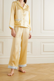 Morgan Lane Jane and Faye lace-trimmed hammered silk-charmeuse pajama set