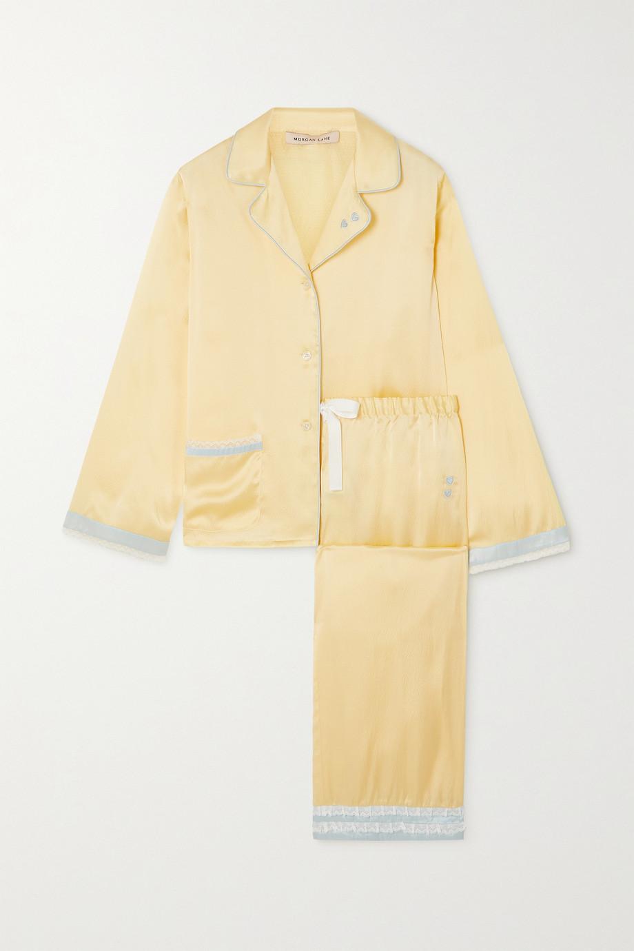 Morgan Lane Jane and Faye lace-trimmed hammered silk-charmeuse pajama set