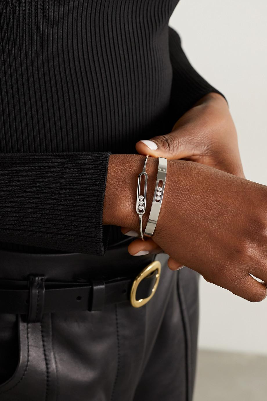 Messika Bracelet jonc en or blanc 18 carats (750/1000) et diamants Move Noa