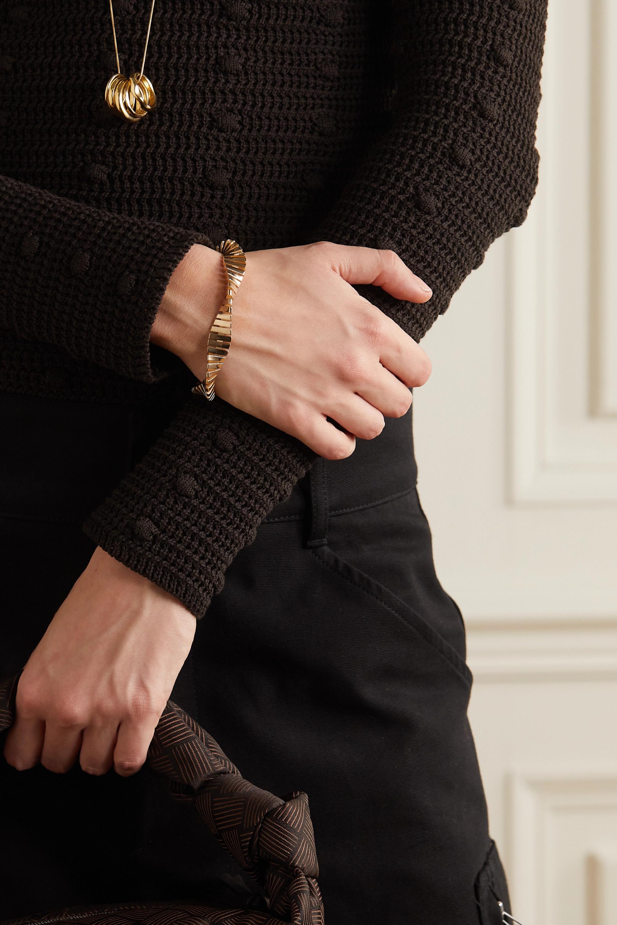 Bottega Veneta Bracelet torsadé en plaqué or