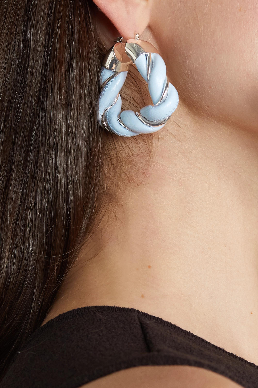 Bottega Veneta Boucles d'oreilles en plaqué argent et cuir Square Twist