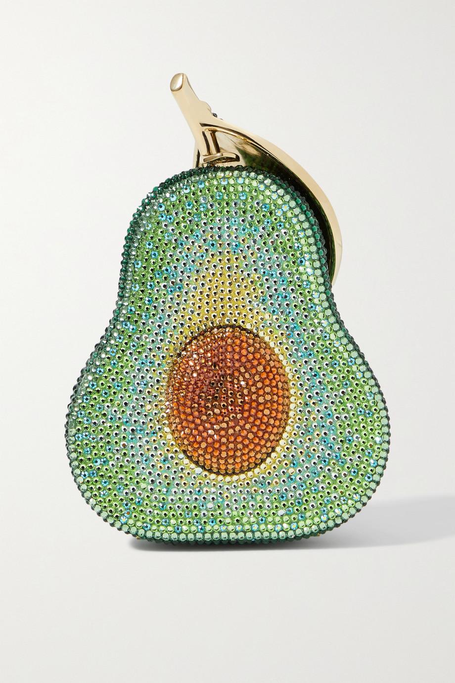 Judith Leiber Couture Avocado goldfarbene Clutch mit Kristallen