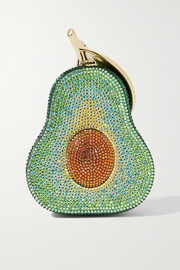Judith Leiber Couture Avocado crystal-embellished gold-tone clutch