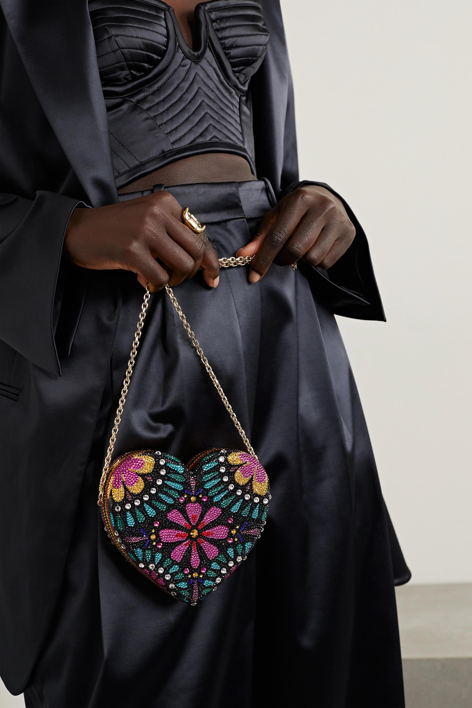 Judith Leiber Couture Heart Corazón Clutch mit Kristallen und goldfarbenen Details