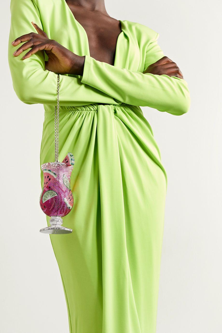 Judith Leiber Couture Cocktail Watermelon silberfarbene Clutch mit Kristallen