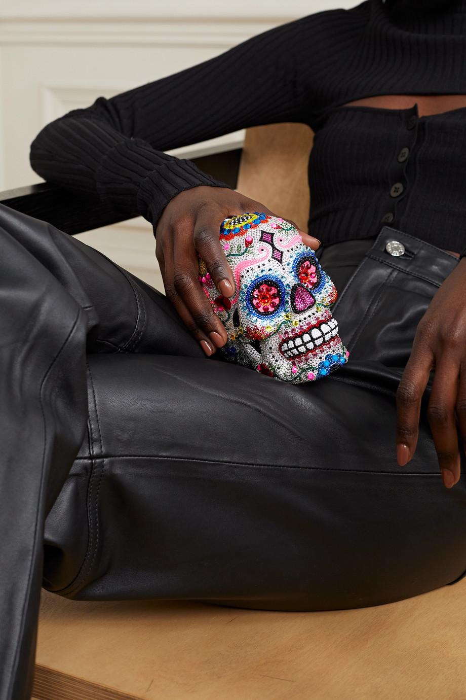 Judith Leiber Couture Pochette en métal argenté à cristaux Skull Calavera