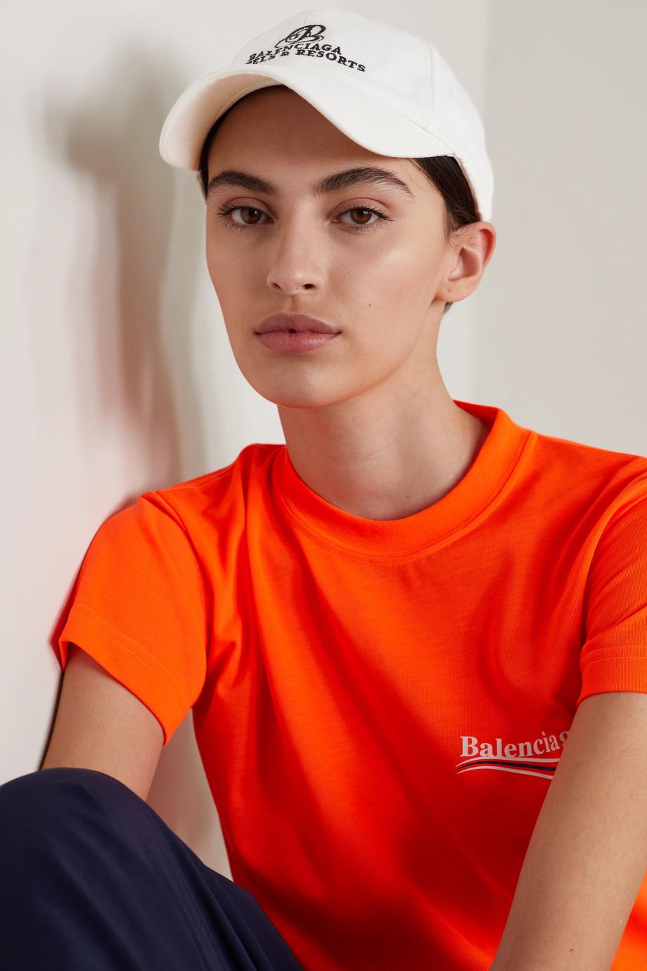 Balenciaga Casquette en serge de coton à broderies