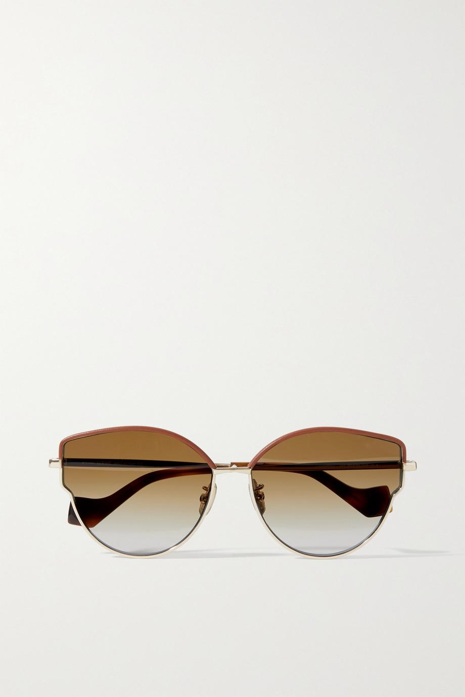 Loewe Goldfarbene Cat-Eye-Sonnenbrille mit Details aus Azetat in Hornoptik und Lederbesätzen