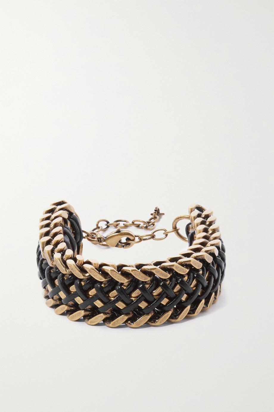 SAINT LAURENT Bracelet en métal doré et cuir
