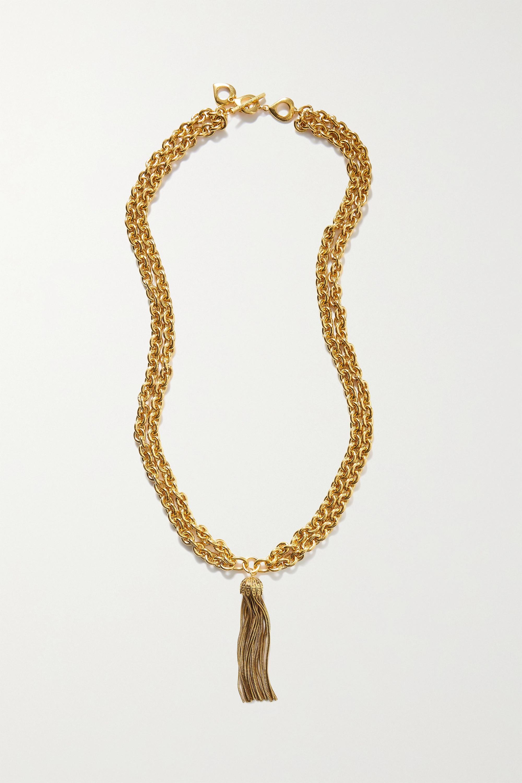 SAINT LAURENT - Tasseled gold-tone necklace