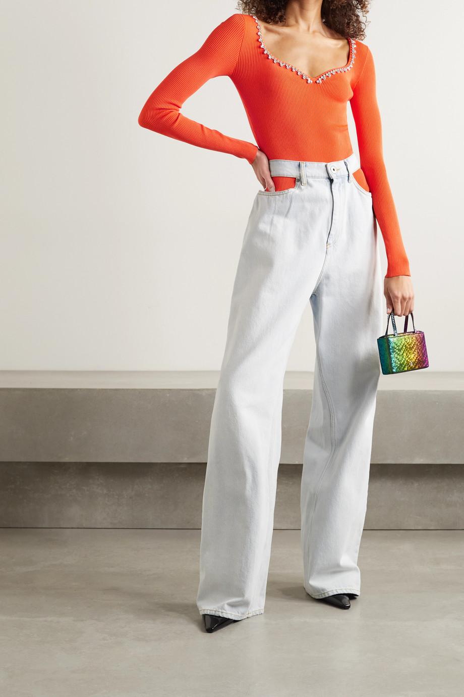AREA Crystal-embellished ribbed stretch-knit bodysuit