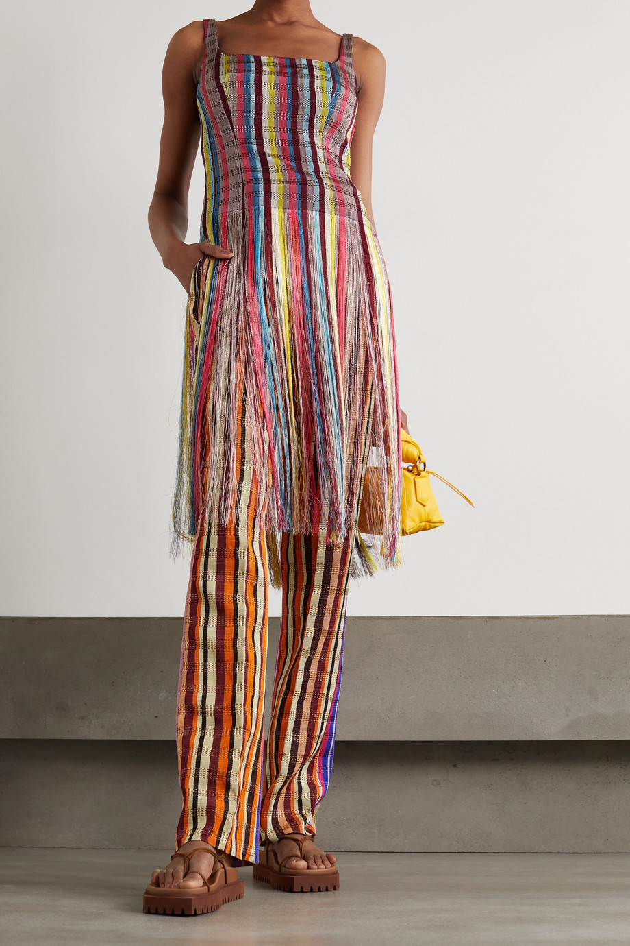 KENNETH IZE Striped woven straight-leg pants