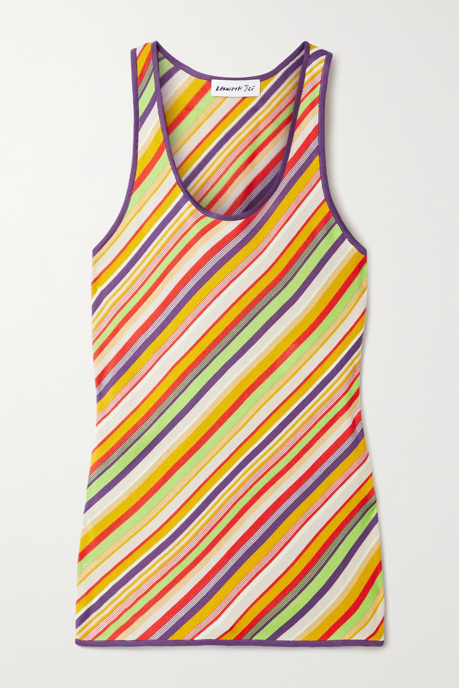 KENNETH IZE Striped silk and cotton-blend tank