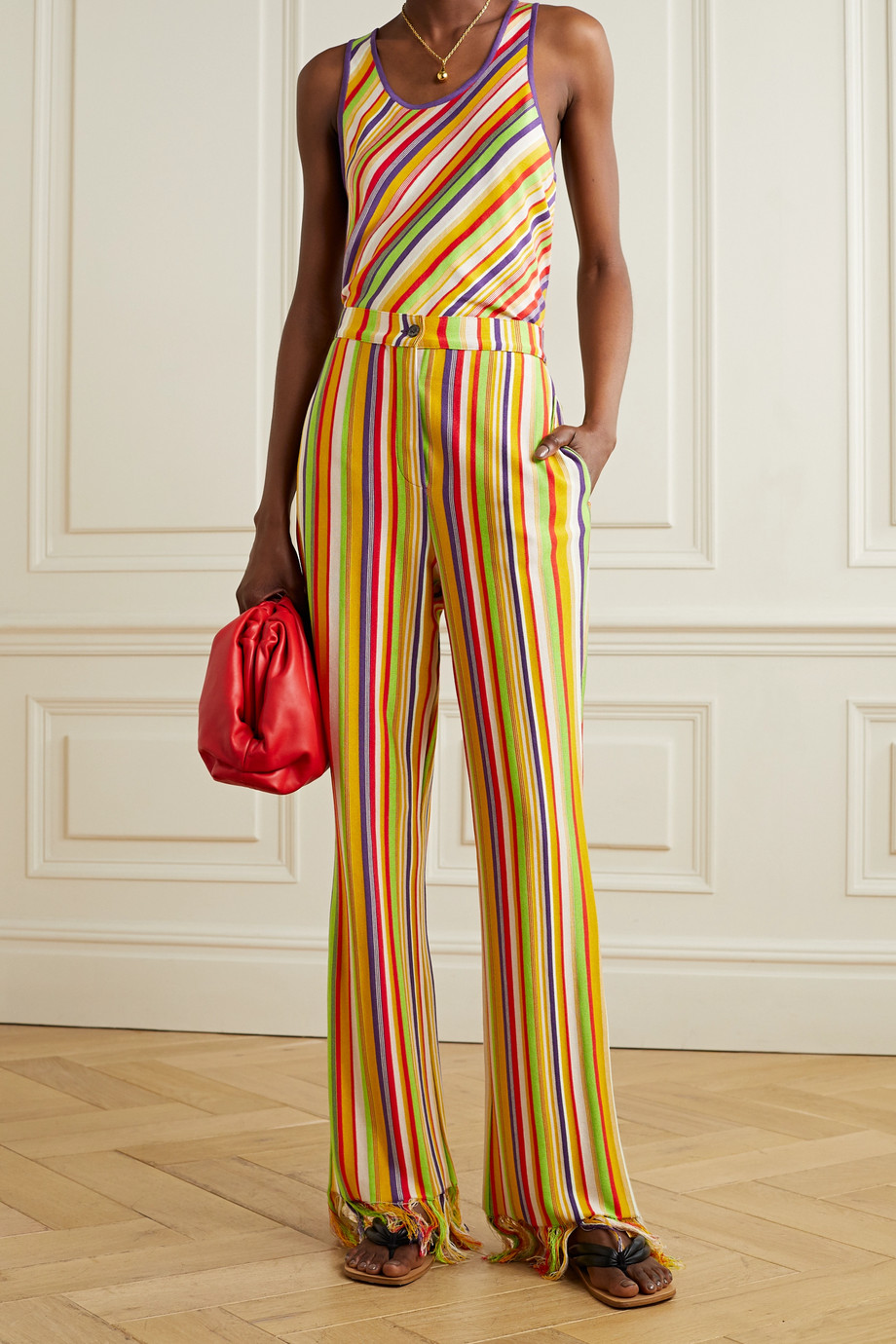 KENNETH IZE Fringed striped silk and cotton-blend straight-leg pants