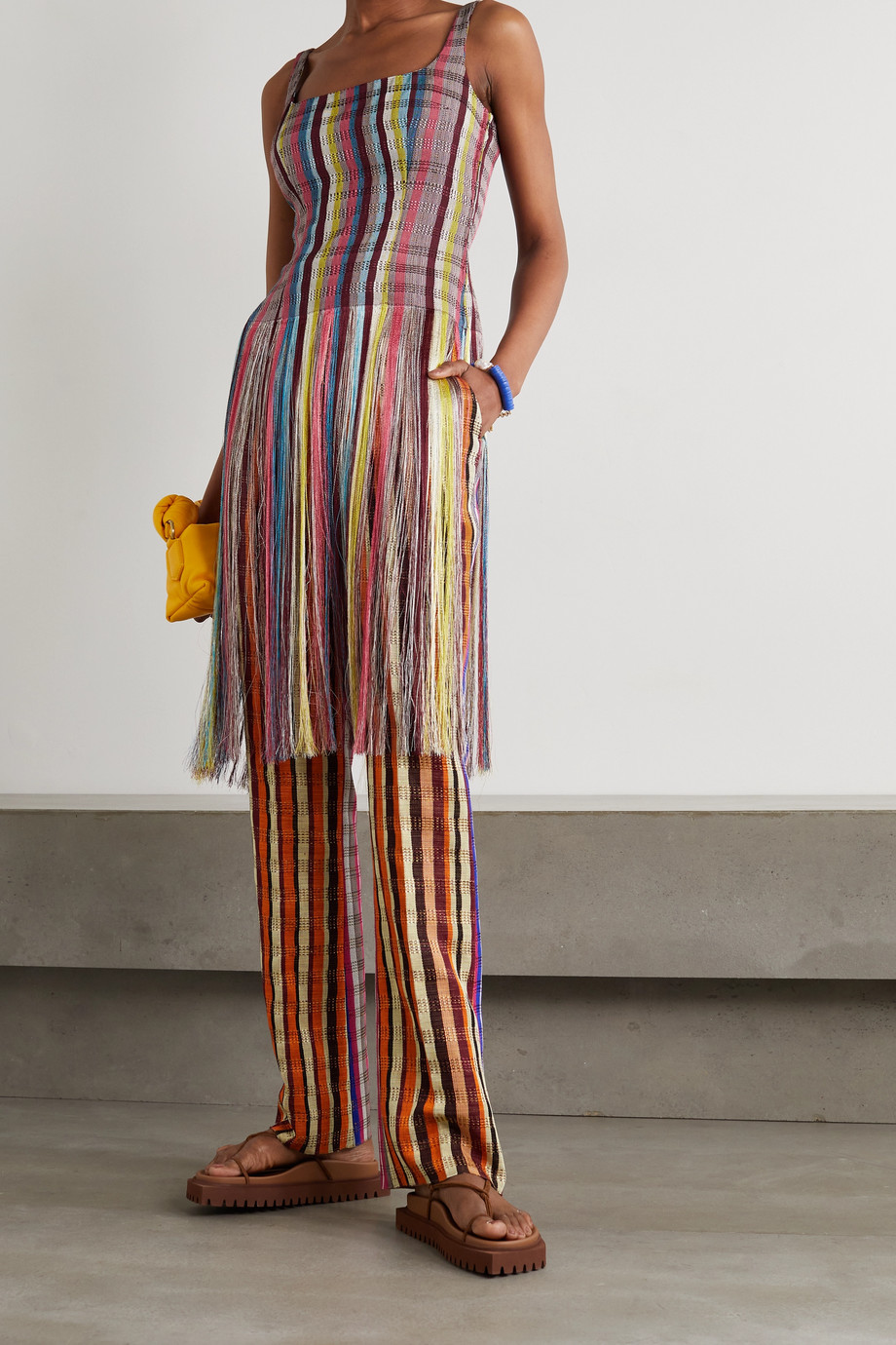 KENNETH IZE Fringed striped woven top