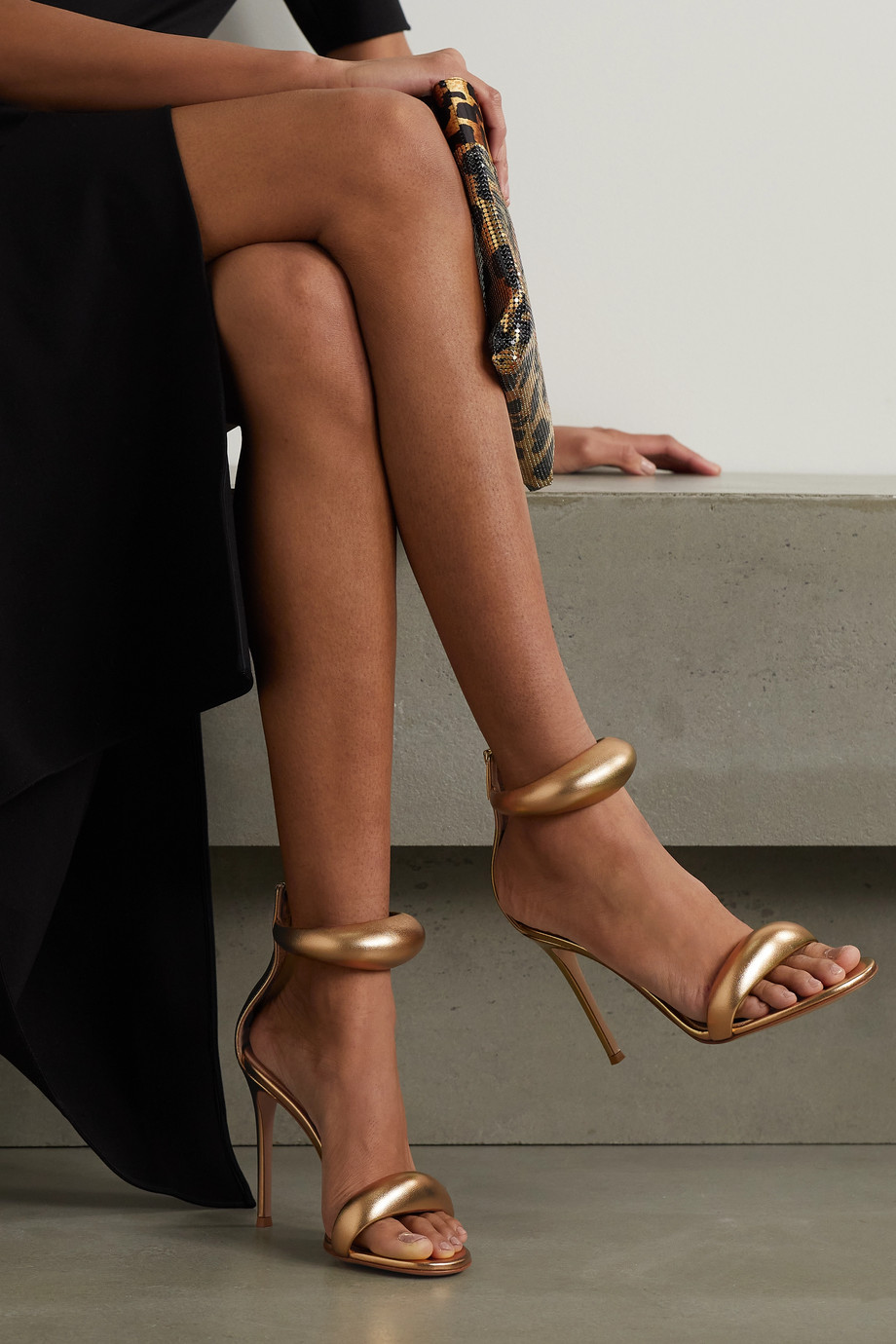 Gianvito Rossi BIJOUX 105 metallic leather sandals