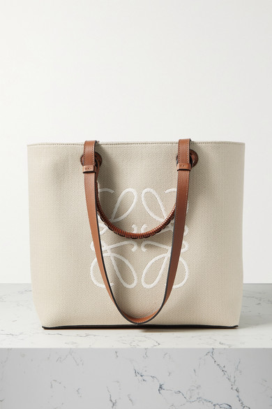 Loewe Leathers ANAGRAM MEDIUM LEATHER-TRIMMED EMBROIDERED CANVAS TOTE