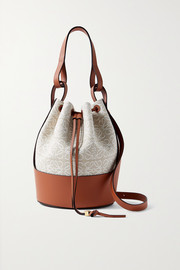 Loewe Balloon medium leather-trimmed cotton-jacquard bucket bag