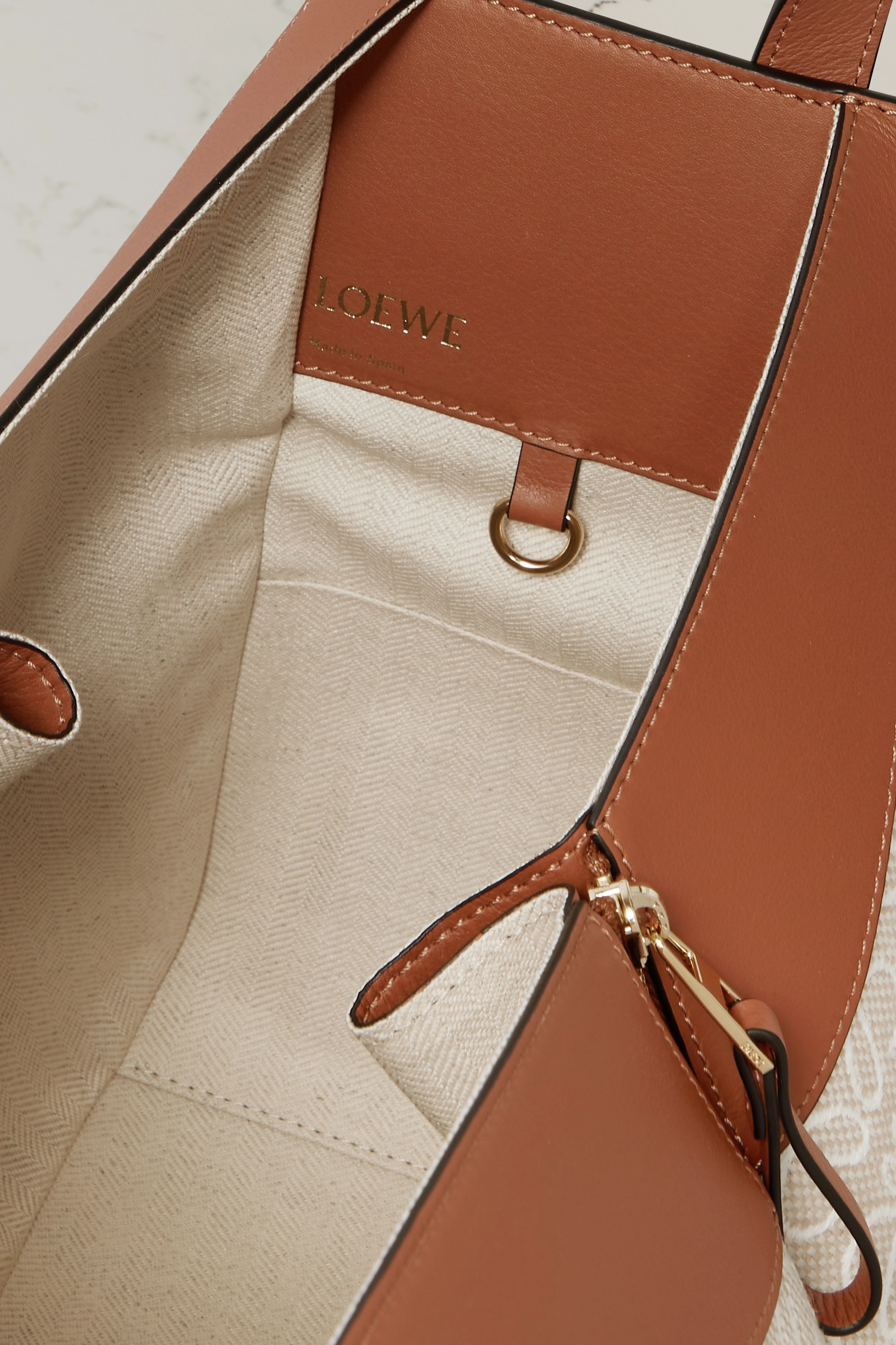 Loewe Hammock small paneled leather and canvas-jacquard tote
