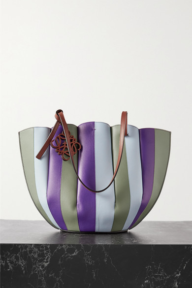 Loewe Shell Striped Leather Tote In Purple