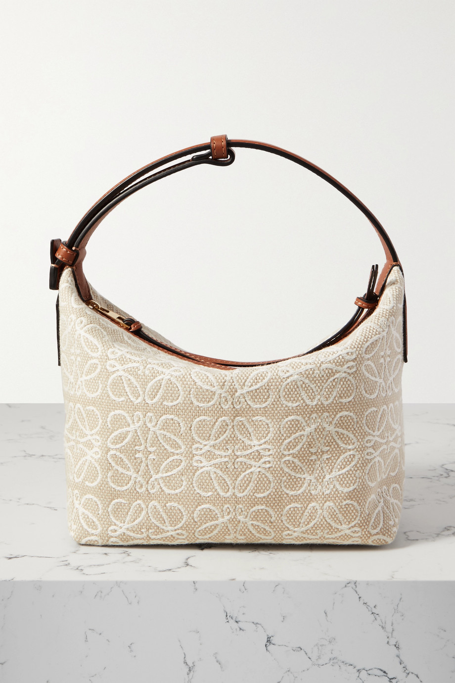 Loewe Cubi small leather-trimmed canvas-jacquard tote