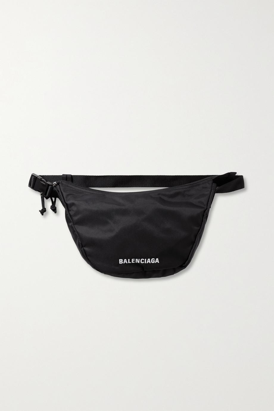 Balenciaga Sac porté épaule en tissu technique à broderies Wheel