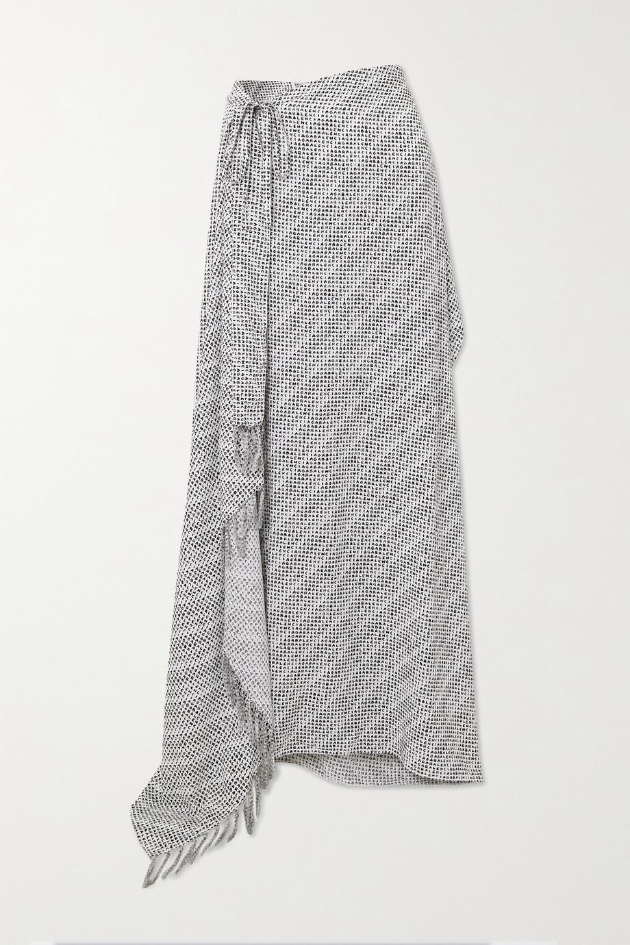 Balenciaga Jupe portefeuille asymétrique en popeline imprimée à franges