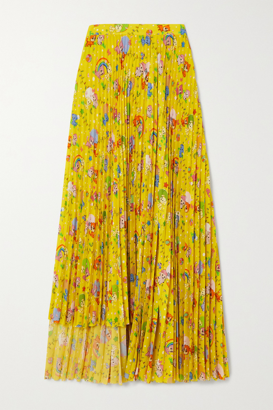 Balenciaga Puppies and Friends asymmetric pleated printed crepe skirt