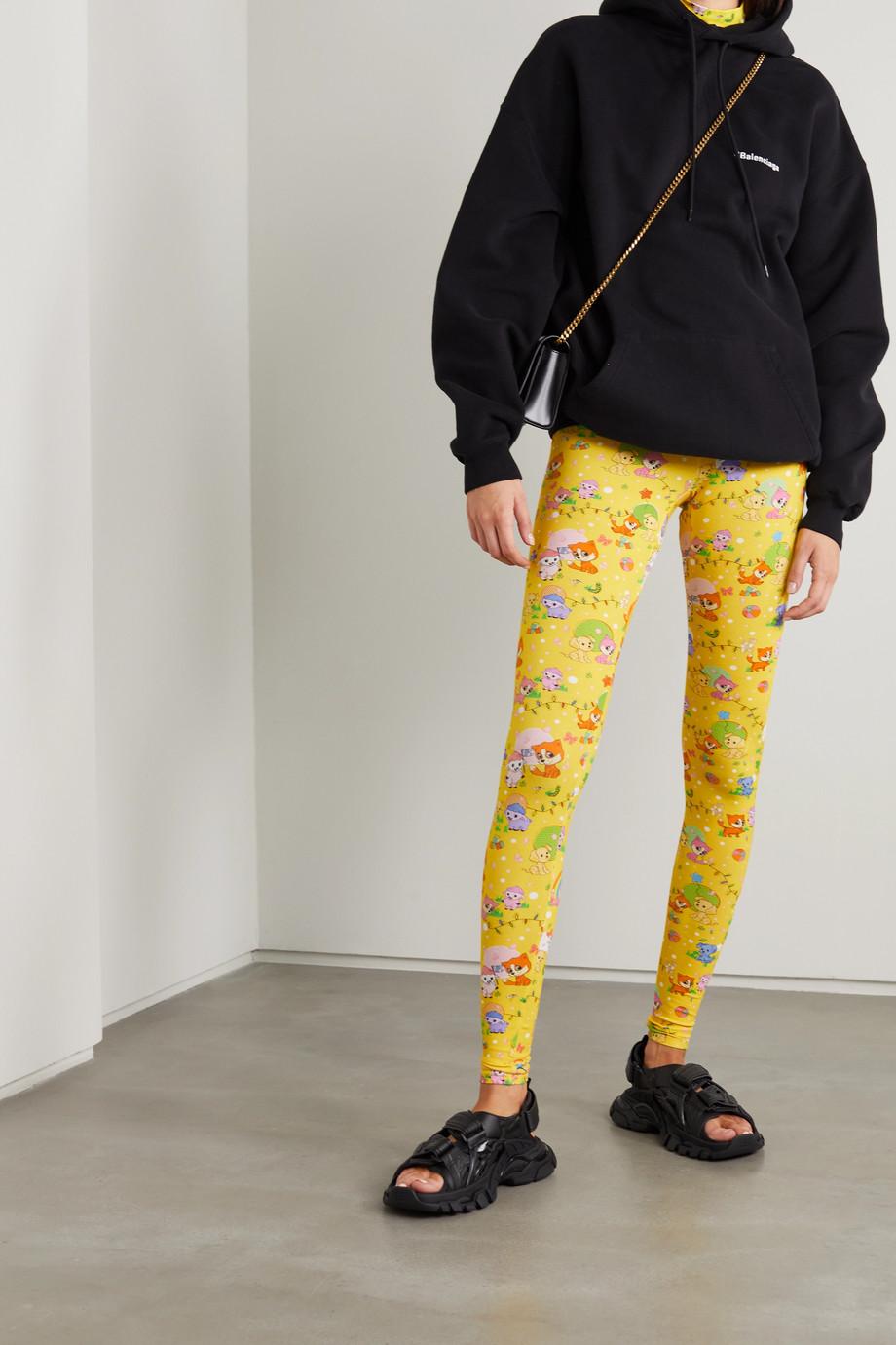 Balenciaga Legging en jersey de coton stretch imprimé Puppies and Friends