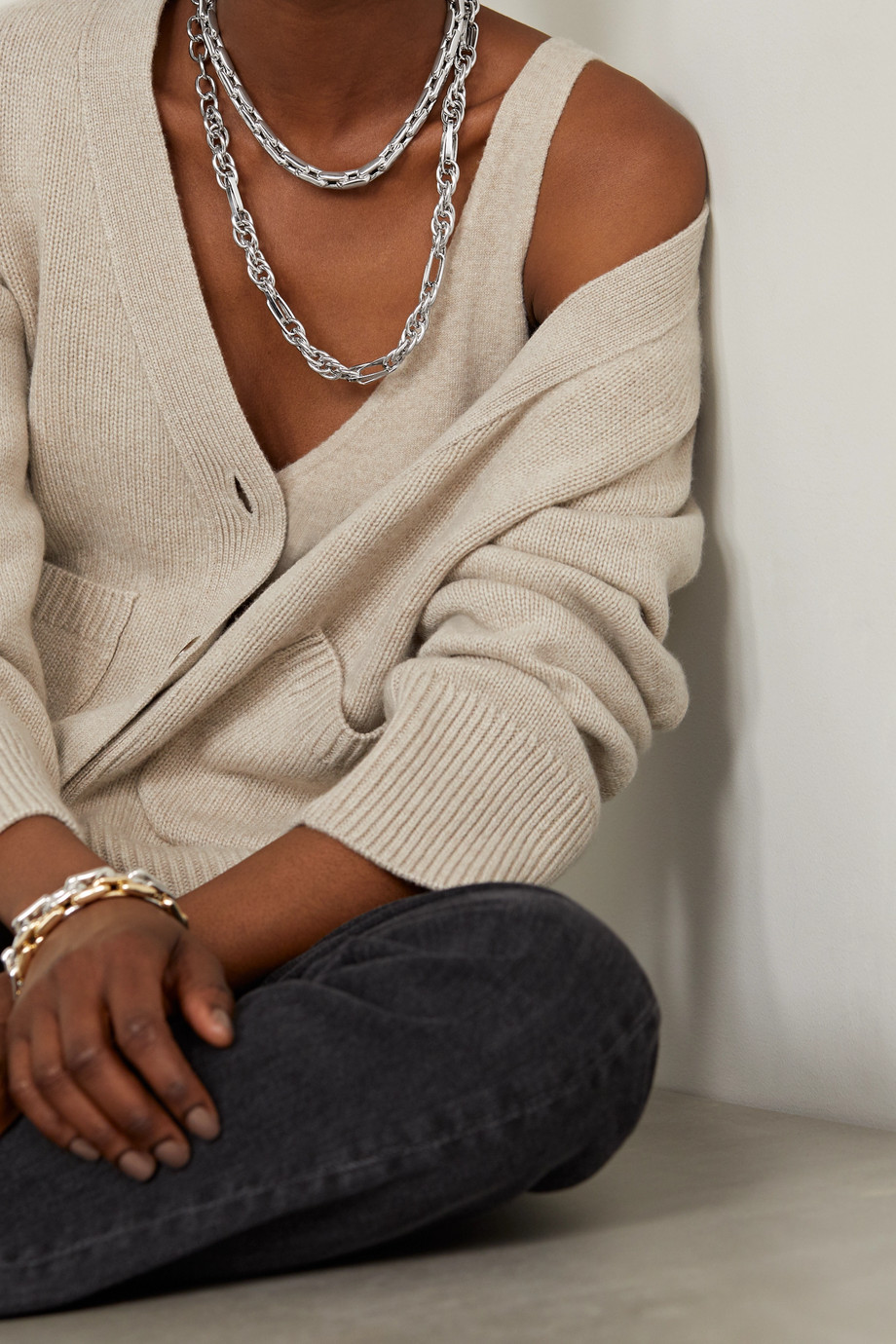 Lauren Rubinski Collier en or blanc 14 carats (585/1000) Small