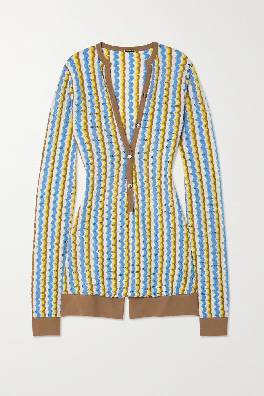 Dodo Bar Or Shiya striped pointelle-knit playsuit