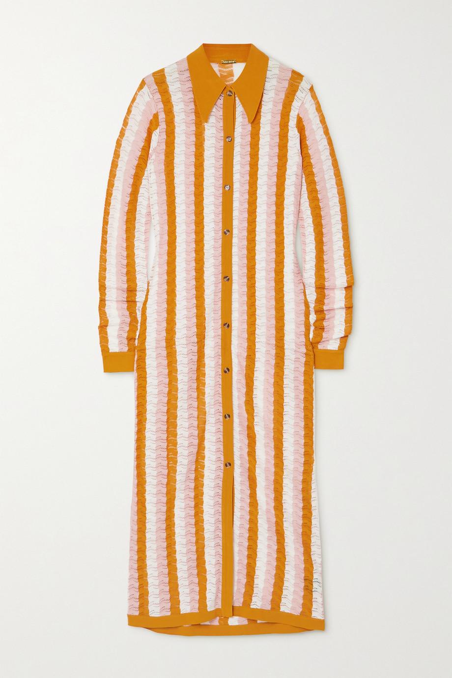 Dodo Bar Or Dar Midi-Hemdblusenkleid aus Pointelle-Strick mit Streifen