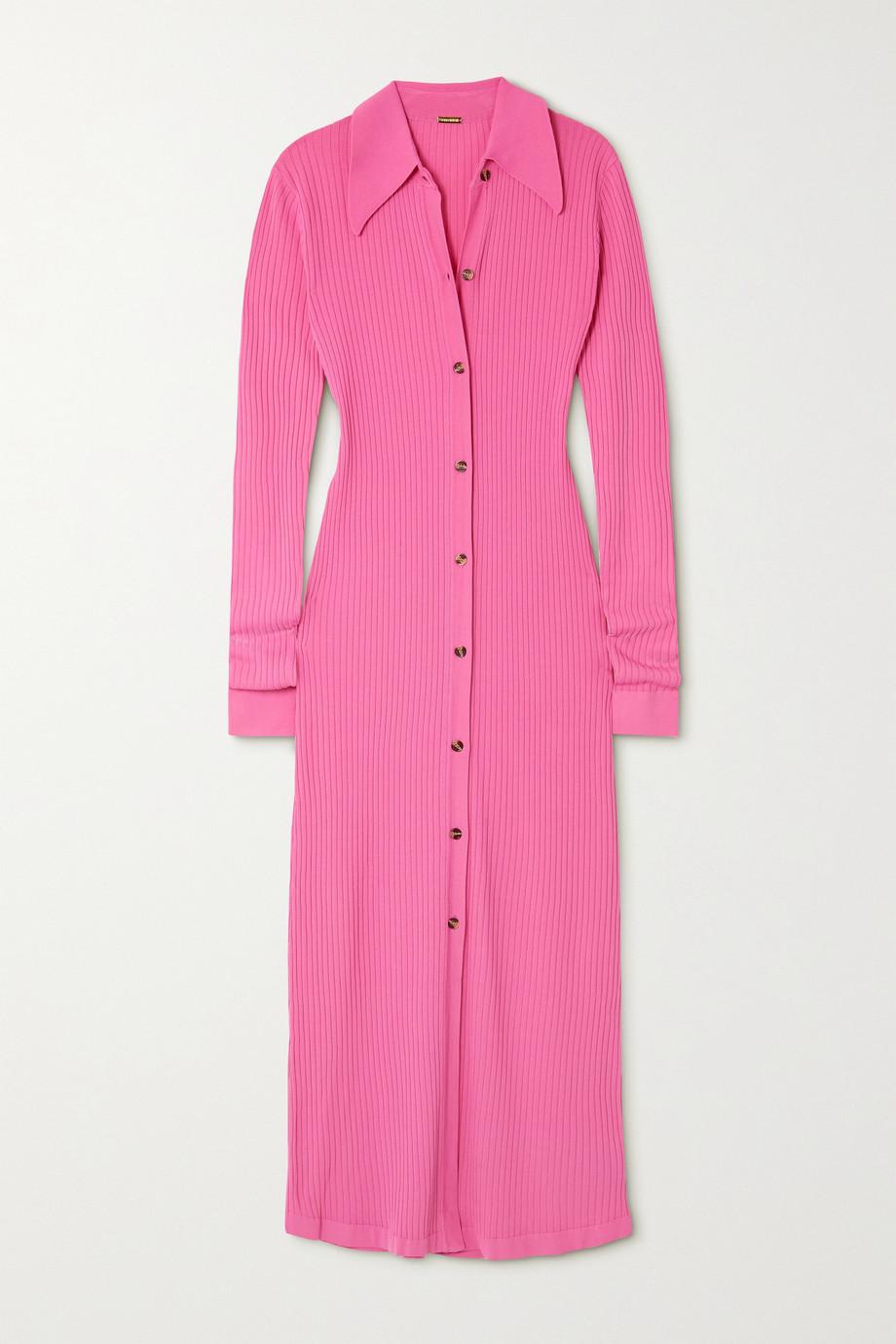 Dodo Bar Or Ella ribbed-knit midi shirt dress