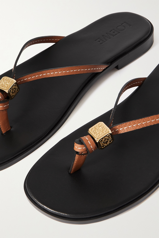 Loewe + Paula's Ibiza Dice embellished leather flip flops