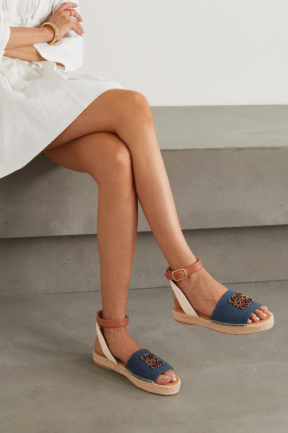 Loewe + Paula's Ibiza canvas and leather espadrille sandals