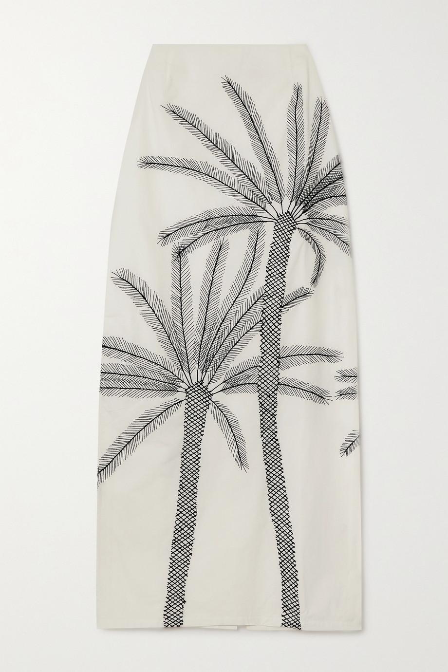 Le Sirenuse Positano Monica embroidered cotton-poplin maxi skirt