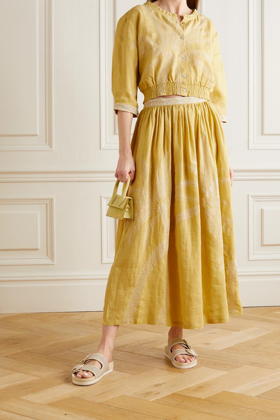 Le Sirenuse Positano Rosei ruffled embroidered linen top