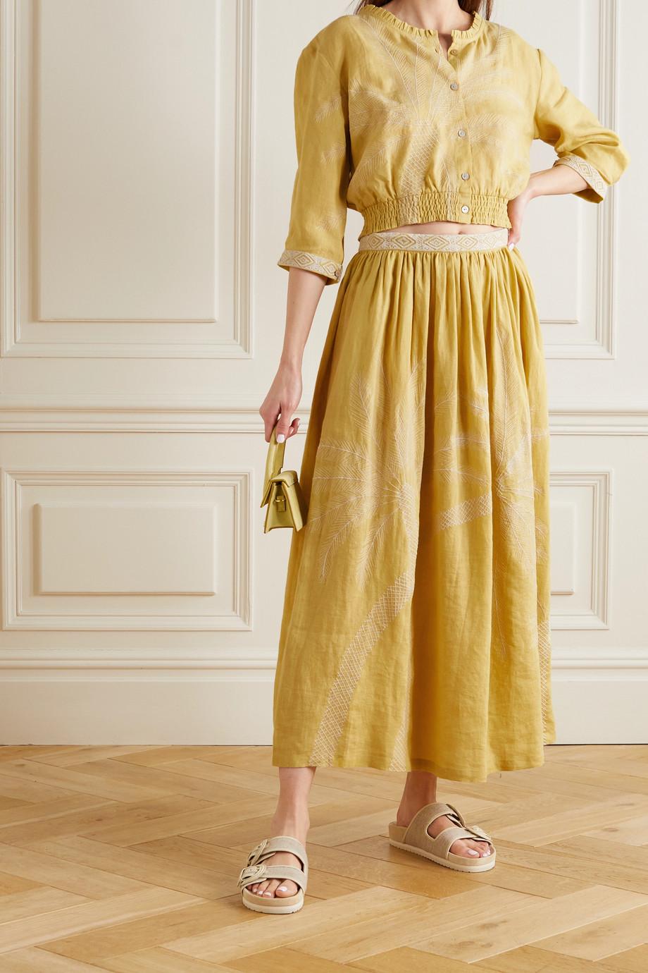 Le Sirenuse Positano Jane pleated embroidered linen skirt