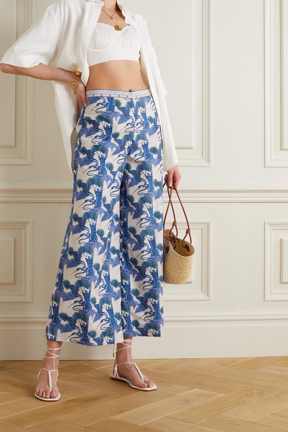 Le Sirenuse Positano Natalie Love Story printed cotton-poplin wide-leg pants
