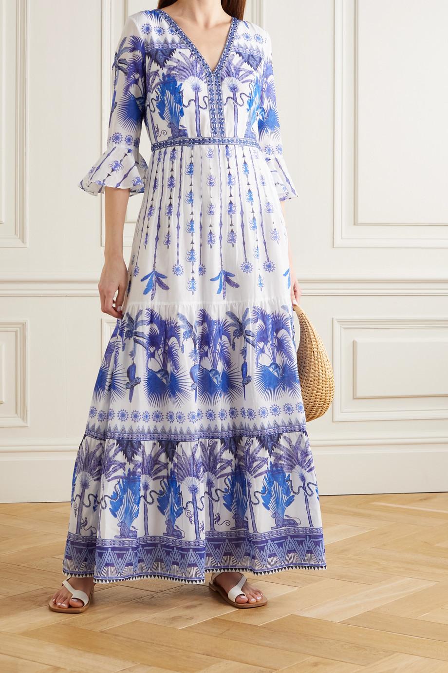 Le Sirenuse Positano Bella tiered embroidered printed cotton-voile maxi dress
