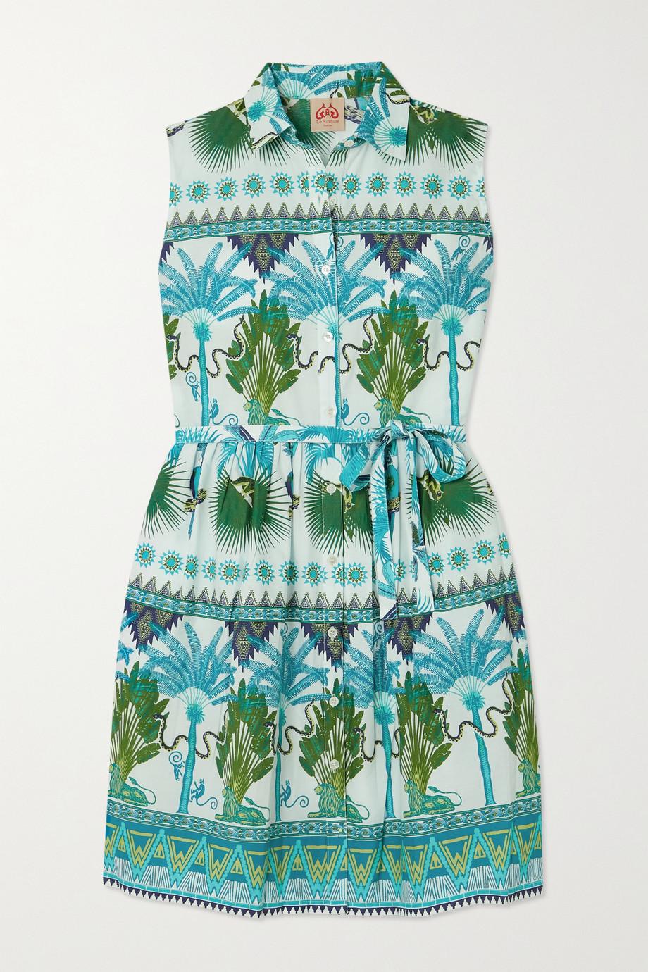 Le Sirenuse Positano Meg belted printed cotton-poplin mini dress
