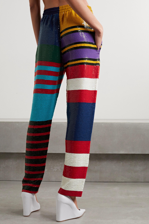 Ashish Gestreifte Hose mit geradem Bein aus Georgette mit Pailletten