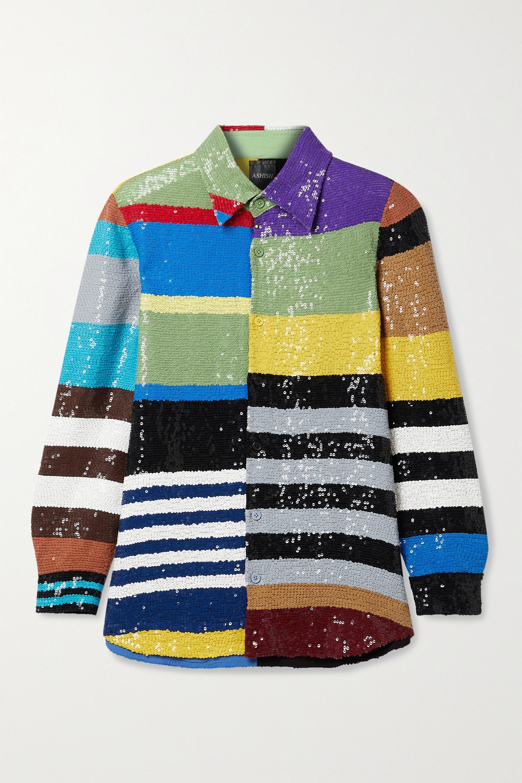Ashish Gestreiftes Hemd aus Georgette mit Pailletten