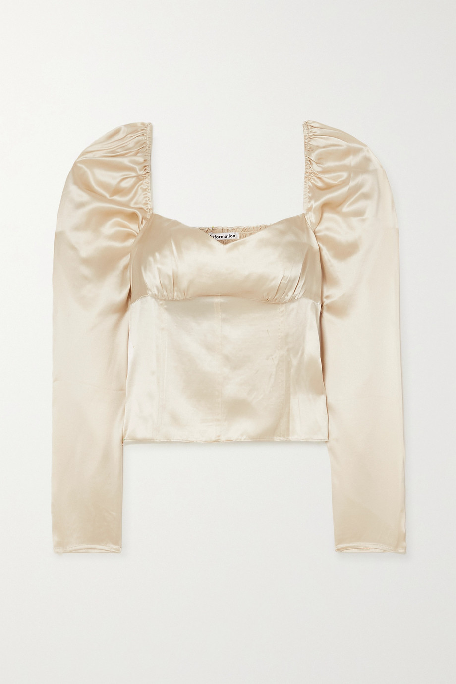 Reformation Roe shirred silk-satin top