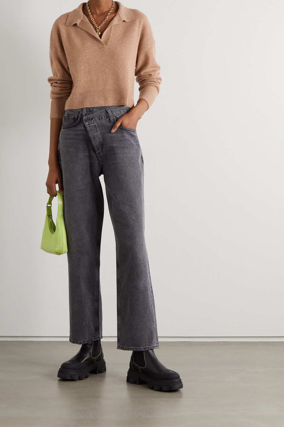 Reformation Cropped cashmere sweater