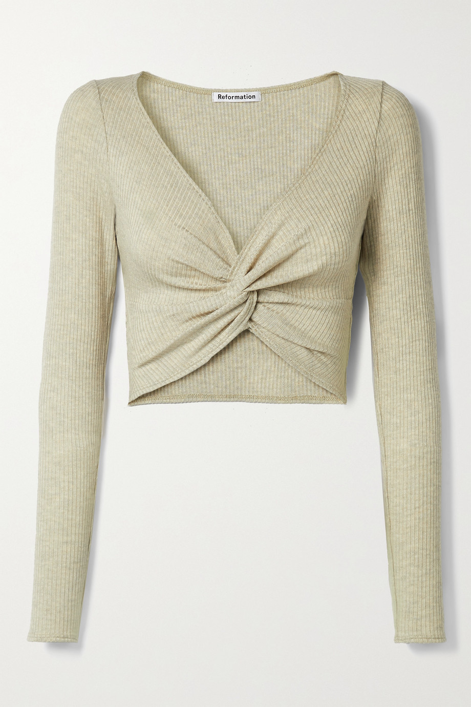 Reformation Loch cropped twist-front ribbed stretch-TENCEL Modal top