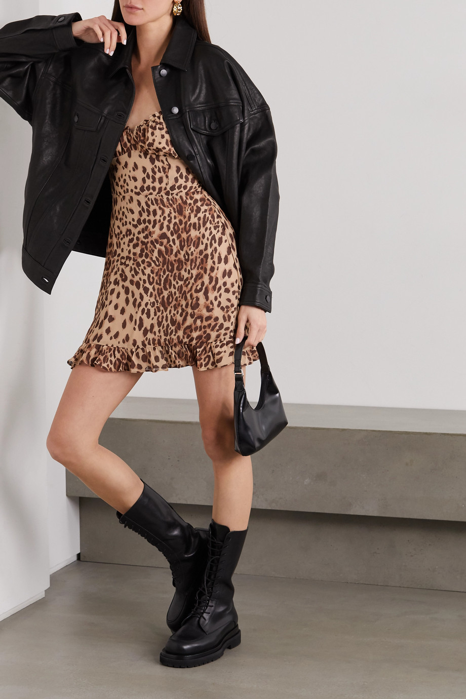 Reformation Esther ruffled leopard-print georgette mini dress