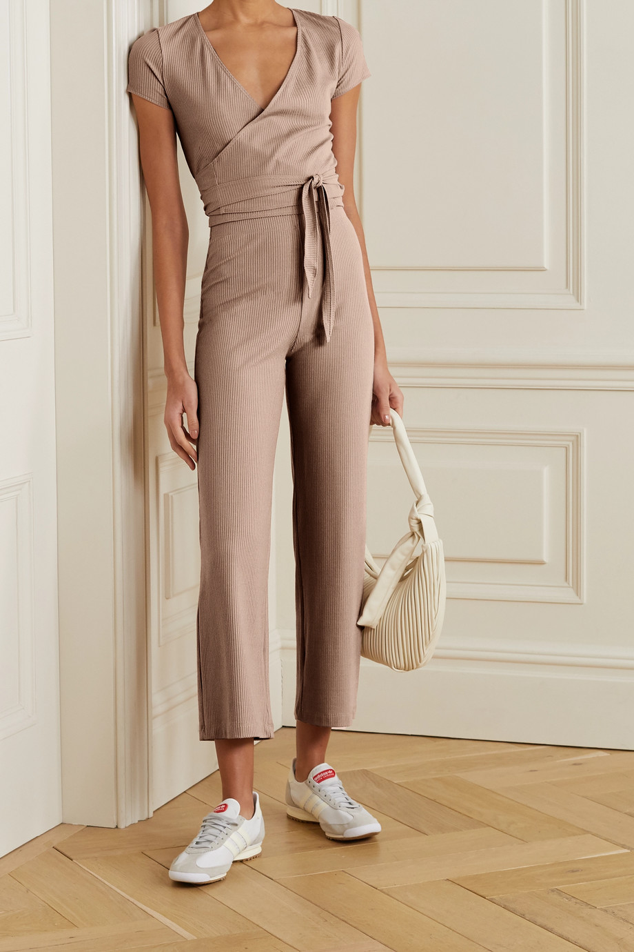 Reformation + NET SUSTAIN Flora ribbed stretch-TENCEL Lyocell top and pants set